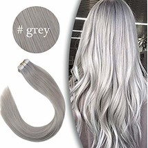 VeSunny 18Inch Silver Grey Tape in Extensions Human Hair 20pcs 50g Remy Adhesive image 1