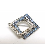 Double Square Blue and Clear Rhinestone Vintage Pin - $15.89