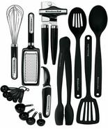 17 Piece Black Heat Resistant Dishwasher Safe Kitchenware Set BRAND NEW - $77.05