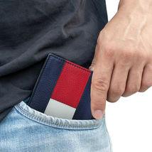 Tommy Hilfiger Men's Premium Leather Double Billfold Passcase Rfid Wallet Navy image 11