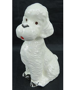 "Vintage Ceramic Porcelain White Poodle hand painted Figurines 7"" tall - $20.00"