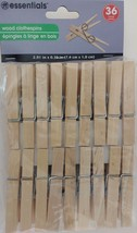 CLOTHES PINS WOODEN SPRING-CLAMP 36 Pins/Pk Laundry Clothes Lines Crafts - $2.96