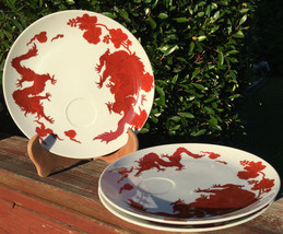"""Set of 3 Flitz and Floyd Red Temple Garden Snack Plates 9"""" - $34.99"""