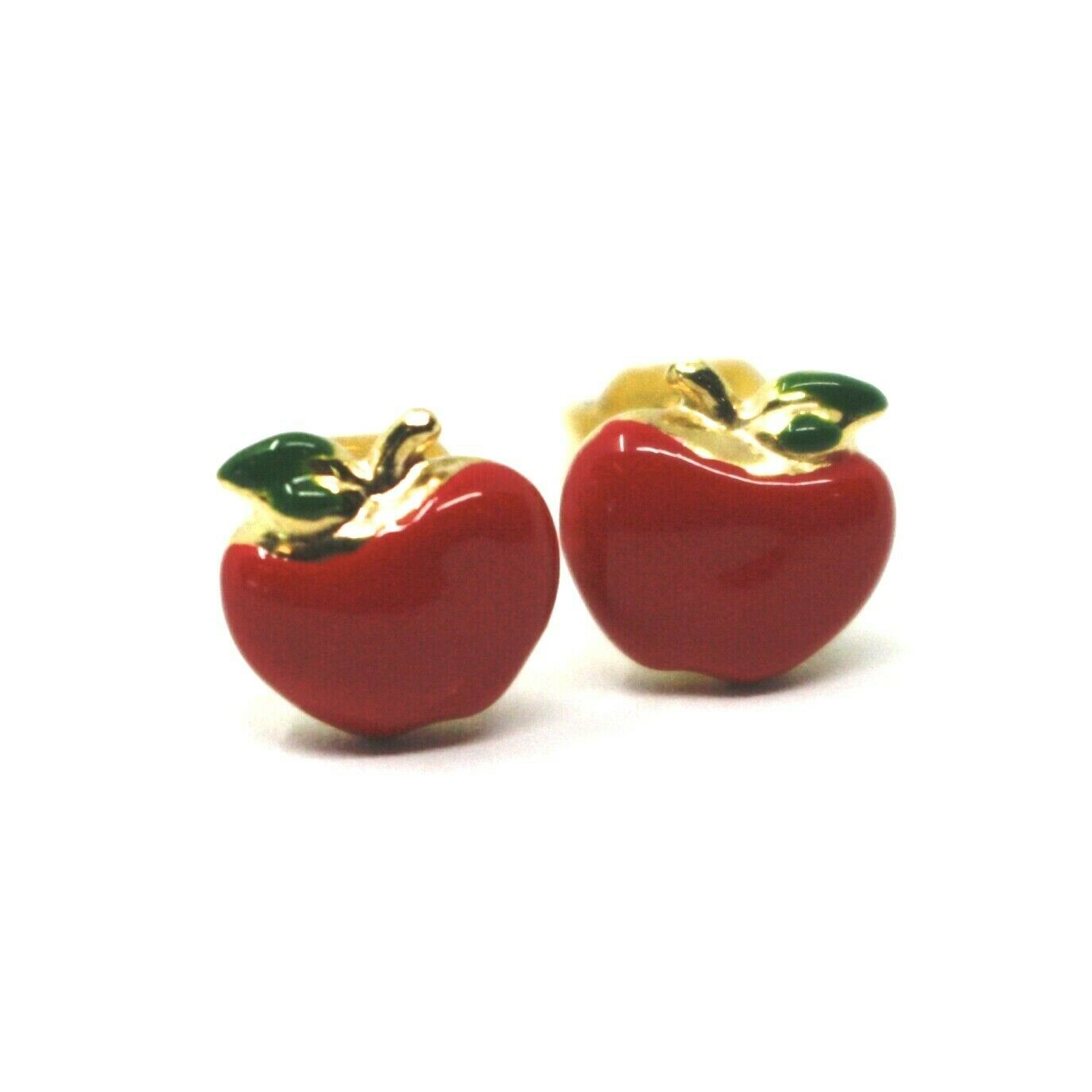 18K YELLOW GOLD STUD EARRINGS, ENAMEL RED APPLE, 9mm, 0.35 INCHES