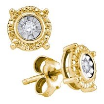 Yellow-tone Sterling Silver Womens Round Diamond Stud Earrings 1/20 Cttw - $44.00