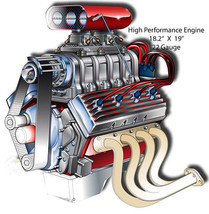Engine High Performance Laser Cut Out By Artist Bernard Oliver 18.5x19 - $29.70