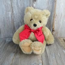Vintage Teddy Bear Plush Creations Big Red Bow Large Tan Long Hair Stuff... - $148.49