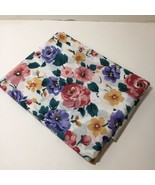 """2 Yards Floral Fabric 45"""" wide Purple Yellow Pink Flowers Cotton - $11.64"""