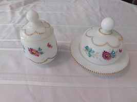 Vintage Heisey Milk Glass Sugar and Butter Dish Set with Lids - $40.00