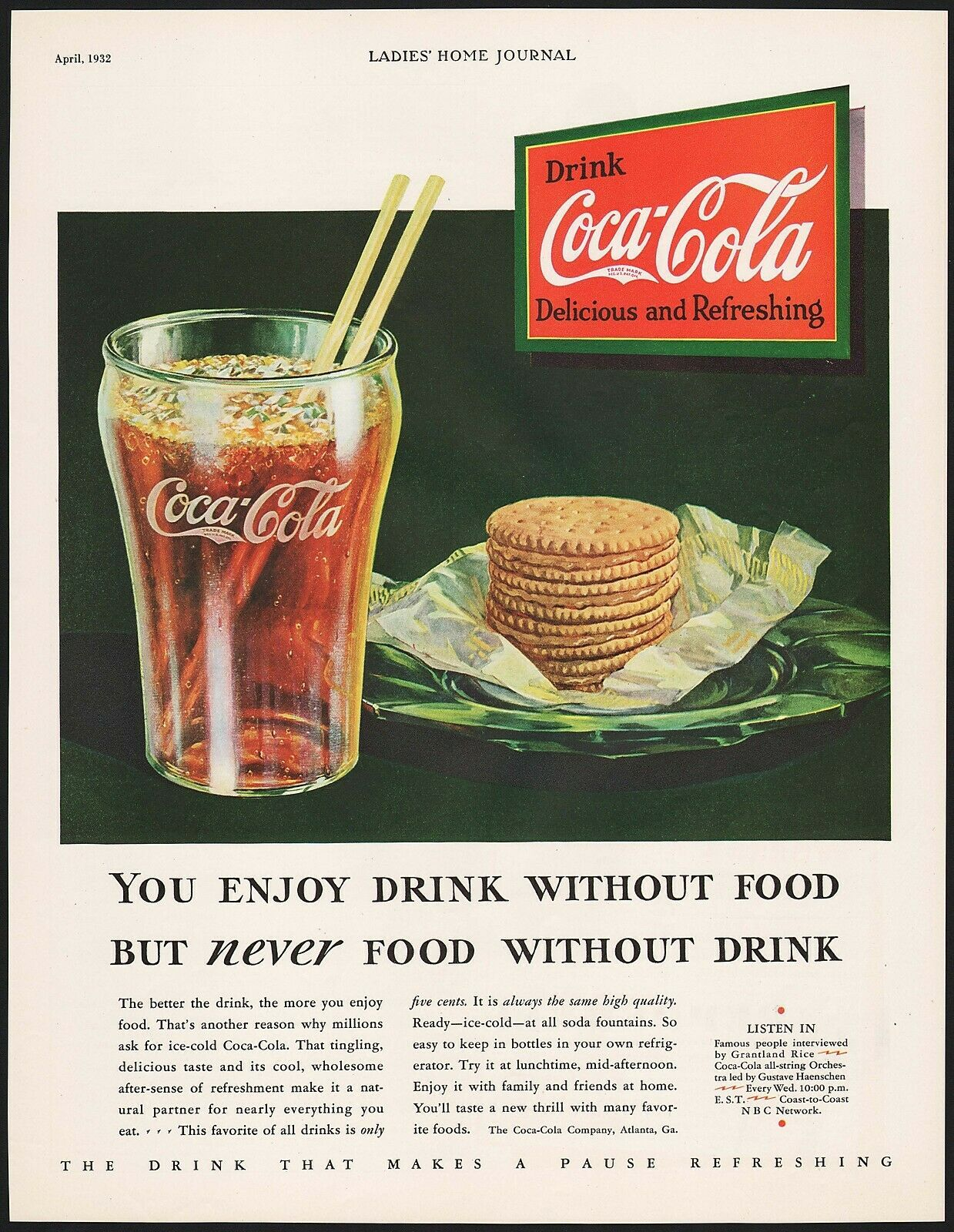 Primary image for Vintage magazine ad COCA COLA from 1932 glass crackers diminishing logo pictured