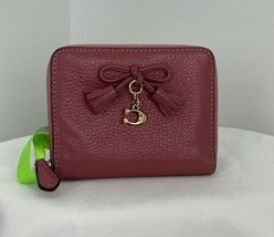 Coach Wallet Small Tassel Leather Bow Zip Around Strawberry  W8 - $97.01