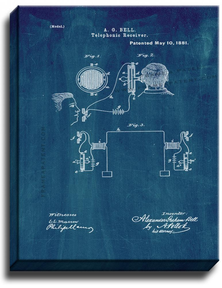 Primary image for Telephonic Receiver Patent Print Midnight Blue on Canvas