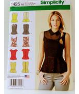 Simplicity.1425 R5 Sewing Pattern Misses Peplum Tops w Neckline Variatio... - $13.99