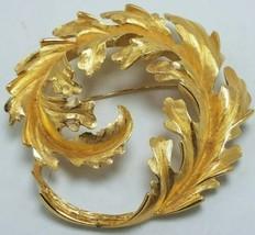 "Vintage Monet Gold Tone Fern Leaf Brooch Pin - Swirl - Large 2.75"" Signed - $34.95"