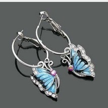 Korean Jewelry Fashion Exquisite Earrings Korean Storm Blue Butterfly Ea... - $20.00