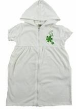 Girl's 4-6x Bathing Suit Cover-Up Full Zip Hooded Terry White Flowers Swim Robe