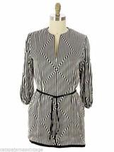 Pauline Trigere VTG Tunic Silk Black White Stripes OpArt Geometric1970s ... - $226.18