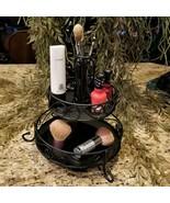 Vintage Black Iron Vanity Makeup Cosmetic Caddy Organizer 2 Tier - $39.95