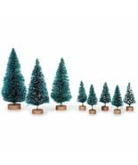 Set 8 Mini Green Sisal Bottle Brush CHRISTMAS Trees w/ Snow Frost Village Putz - $4.41