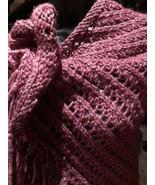 Vintage Burgundy Crochet Lace Gypsy Triangle Scarf Wrap - $51.48