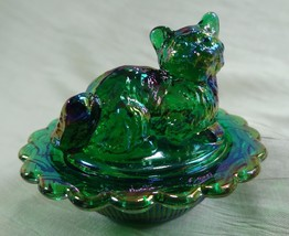 Cat on Nest Salt Dip Hunter Green Carnival Glass Kitty Kitten - $15.88