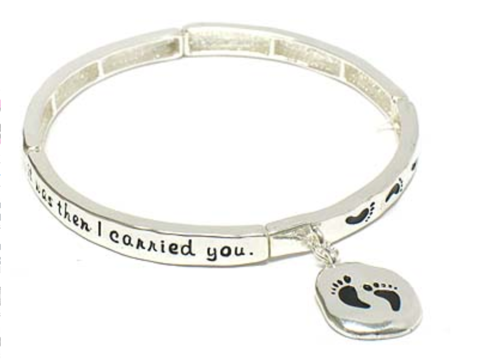 Primary image for Footprints Inspirational Religious Bangle Bracelet Silver NEW