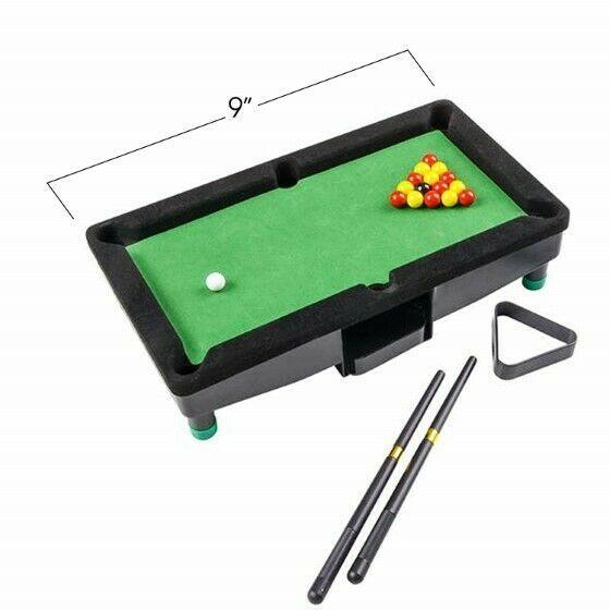 "9"" Travel Mini Pool Table 2 Sticks 16 Balls & Rack Kids / Office Desk Decoration image 2"