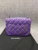 AUTHENTIC CHANEL 2017 PURPLE QUILTED PATENT LEATHER SQUARE MINI CLASSIC FLAP BAG image 2