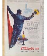 O'KEEFE'S ALE Brewery Vintage Ad Railroading Canada Lantern Railway Trai... - $10.00