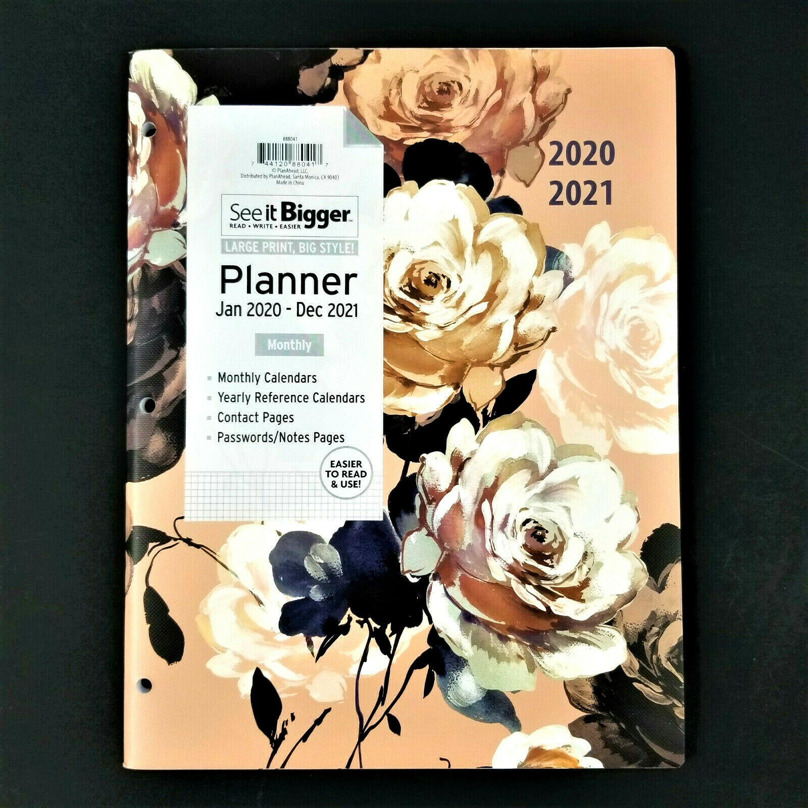 "Primary image for LARGE PRINT 2020-2021 See-It-BIGGER Monthly Planner 11"" x 9"" -Pink White Flowers"
