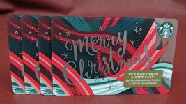 Lot of 4 Starbucks, 2018 Merry Christmas Gift Cards New with Tags - $7.60