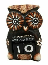 Balinese Wood Handicrafts Hypnosis Eyes Nocturnal Owl Desktop Calendar F... - $21.99