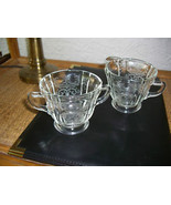 Indiana Glass Madrid Pattern Recollection Clear Sugar & Creamer c 1970's - $11.88
