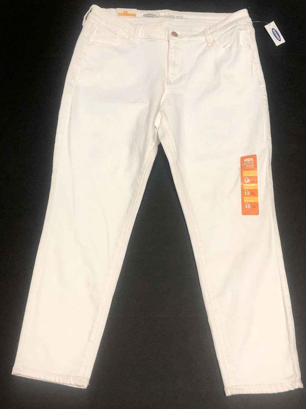 Old Navy Rock Star White Crop Jeans Sz 12 image 2