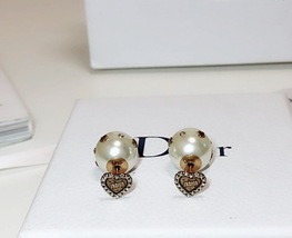 "Authentic Christian Dior Crystal Heart Tribal ""DIOR TRIBALES"" Earrings Gold image 6"