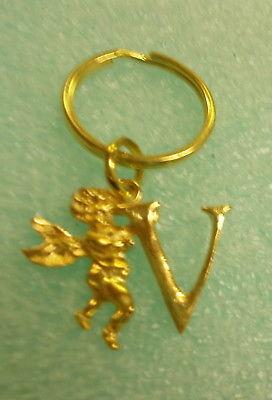 """St. Evans Gold Angel """"V""""  Keychain #AV UPC:710534488785"""