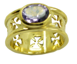 attractive Amethyst CZ Gold Plated Purple Ring genuine jaipur US gift - $17.99