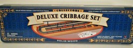 Deluxe Cribbage Set Solid Wood Continuous Track w/ Playing Cards Brand New - $16.99