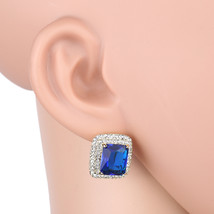 UNITED ELEGANCE Dazzling Faux Sapphire Earrings With Swarovski Style Crystals - $24.99