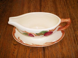 VINTAGE FRANCISCAN APPLE POTTERY GRAVY/SAUCE BOAT W/ UNDERPLATE. CALIFOR... - $19.75