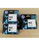 Genuine HP 901 Black & Color Ink Cartridges Lot of 3 CC653AN & CC656AN N... - $29.69