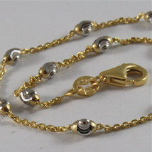 """18K YELLOW & WHITE GOLD ROLO ALTERNATE CHAIN NECKLACE 3mm FACETED OVAL BALLS 16"""" image 2"""