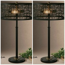 "TWO URBAN INDUSTRIAL DECOR 27"" RUSTIC BLACK TABLE LAMPS LIGHT MESSED MET... - $572.00"