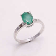 NATURAL EMERALD 6*8 MM OVAL & DIAMOND BAGGETS  925 STERLING SILVER RING ... - £27.48 GBP