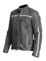 Mens Retro Motorcycle Cafe Racer Rider Distressed Black Biker Leather Jacket image 2