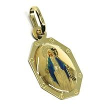 Médaille, or Jaune 750 18K, Madone Miraculeuse, Hexagonale, 17mm, avec É... - $141.37