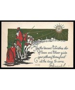 Antique Christmas Greeting Art Card Shepherds Camels Shining Star Litho ... - $18.99