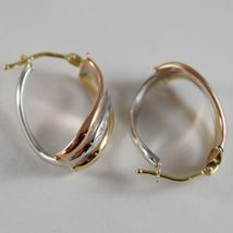18K YELLOW ROSE WHITE GOLD EARRINGS ALTERNATE WAVES HOOPS 21 MM MADE IN ITALY image 3