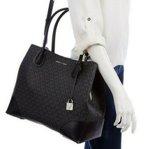 Michael Kors Mercer Corner LG Center Zip Signature Tote Convertable Blac... - $183.89