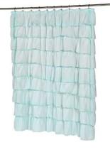 Shower Curtain Spa Blue Ruffled Sheer Tiers 70 x 72 Bath Decor Ruffles - $16.95